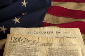 Constitution and Declaration of Independence on Grungy Betsy Ross Flag